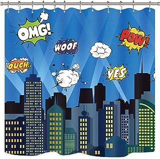 Riyidecor Superhero Shower Curtain Panel Buildings Cityscape City Cartoon Skyline Decor Fabric Polyester Waterproof 72x72 Inch Include 12 Pack Plastic Hooks