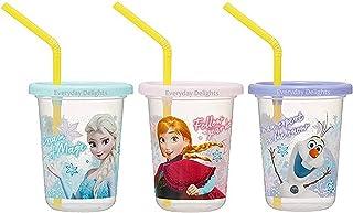 Disney Frozen Elsa Anna Olaf PP Tumblers with Lid Straws, 230ml - 3 sets