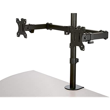 StarTech.com Desk Mount Dual Monitor Arm - Desk Clamp/Grommet VESA Monitor Mount for up to 32 inch Displays - Ergonomic Articulating Monitor Arm - Height Adjustable/Tilt/Swivel/Rotating (ARMDUAL2)