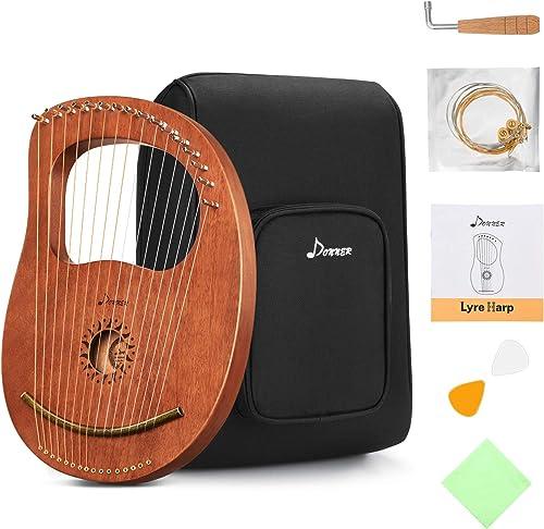Donner Lyre Harpe Acajou 16 Cordes Métal Selle en os Dans le Style de la Grèce Antique avec Clé de réglage et Housse ...