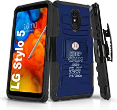 Mobiflare Dual-Layer Kickstand Case for LG Stylo 5, Play Ball - Tampa Bay Design Shockproof Case with Holster