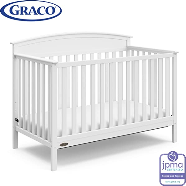 Graco Benton 4 In 1 Convertible Crib White Easily Converts To Toddler Bed Daybed Or Full Size Bed With Headboard 3 Position Adjustable Mattress Support Base