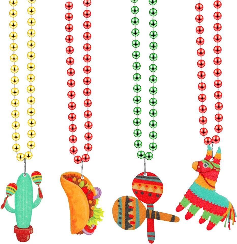20 Piece Cinco De Mayo Necklaces Bead Including Pinata Cactus Maracas Taco, Mexican Theme Party Necklace, Pendant Necklace Jewelry Set for Mexican Birthday Party Favors Supplies Decorations