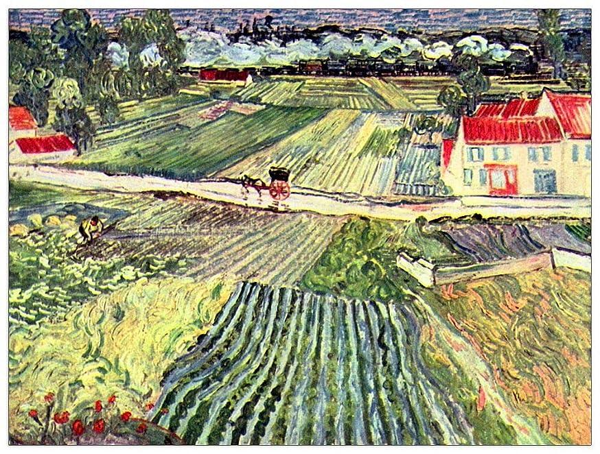 ArtPlaza TW91116 Van Gogh Vincent - Landscape at Auvers in The Rain II Decorative Panel 35.5x27.5 Inch Multicolored