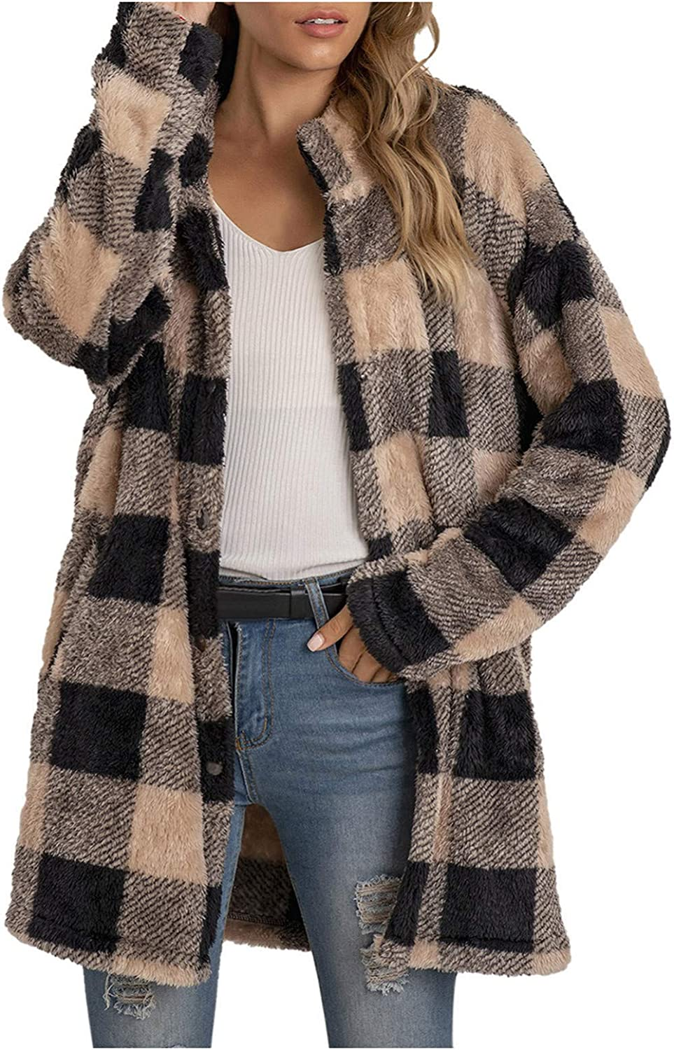 Women's Casual Christmas Plaid Jacket Long Sleeve Buttons Plush Cardigan Winter Warm Lapel Trench Coat