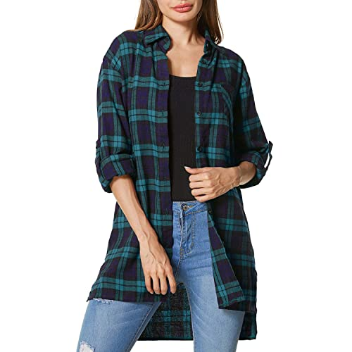Zanzea Womens Buffalo Plaid Button Down Shirt Flannel Long Sleeve Tops Grunge Collar with Pocket