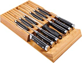 Utoplike In-Drawer Bamboo knife block Drawer Organizer and Holder,fit for 12 knives and one sharpening steel