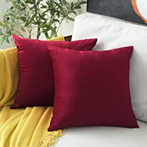 MUDILY One Piece Velvet Supersoft Decorative Square Throw Pillow Covers Cushion Case Decor Pillowcases for Sofa Chair Bed Bench and Outdoor, Wine Red 22 x 22 Inch