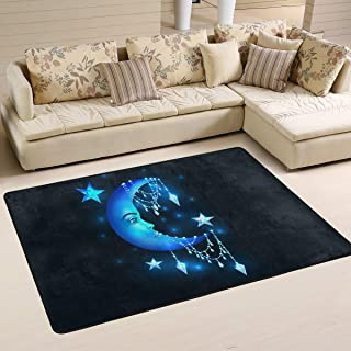 S Husky Large Area Rug for Living Room Mandala India Ethnic Shining Star Moon Diamond Soft Baby Children Crawl Mat for Bedroom Classroom Decorative Carpet Floor Mat Play Mat 72 x 48 in 2042696