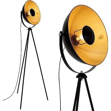 Briloner Leuchten 1380-015 Lampadaire trépied vintage - style projecteur de cinéma - abat-jour métal noir mat & or - douille E27 - 60 W max. - hauteur : 148 cm