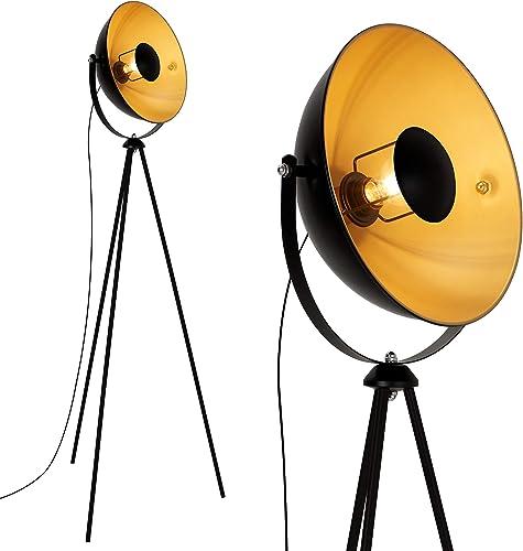 Briloner Leuchten 1380-015 Lampadaire trépied vintage - style projecteur de cinéma - abat-jour métal noir mat & or - ...