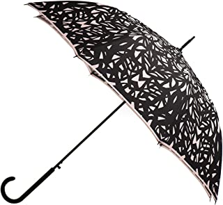 Butterfly Wing Art Design Premium Rain Umbrella - Classic Stick Fashion Umbrella - Strong Handle & Steel Shaft - Ideal for Men & Women (Warm Taupe) by San Francisco Umbrella Co.