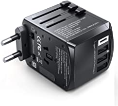 Gimars Travel Adapter, Upgrade True 1840W Stable International European Power Plug Adapter, Worldwide All in One Universal Wall Charger with Type C A G I 4 USB Port for US EU UK AU Asia 200 Countrie