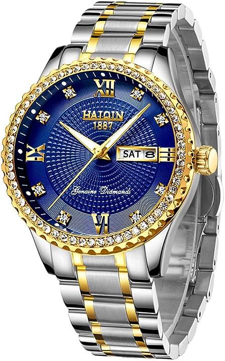 Orologio da uomo color oro con pietre diamantate - acciaio inossidabile haiqin HQ8503