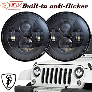 SPL Classic 7'' Inch Cree Chips LED Headlights for Jeep Wrangler 97-2017 JK TJ LJ Hummber H1 H2(Black Pair)