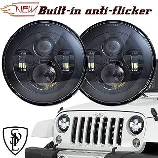 SPL Classic 7'' Inch Cree Chips LED Headlights for Jeep Wrangler 97-2017 JK TJ LJ Hummber H1 H2(Black Pair)