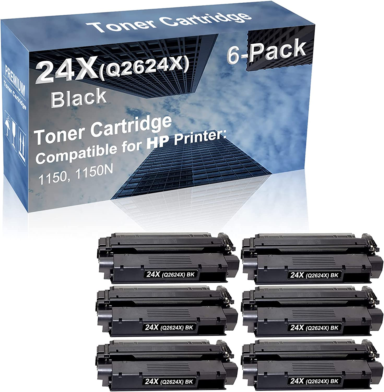 6-Pack Compatible High Capacity 24X (Q2624X) Toner Cartridge use for HP 1150, 1150N Printer (Black)
