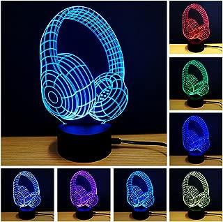 YANGHX 3D Night Light Headphone Shape Touch Table Desk Lamps 7 Color Changing Lights (Color: Multicolor)