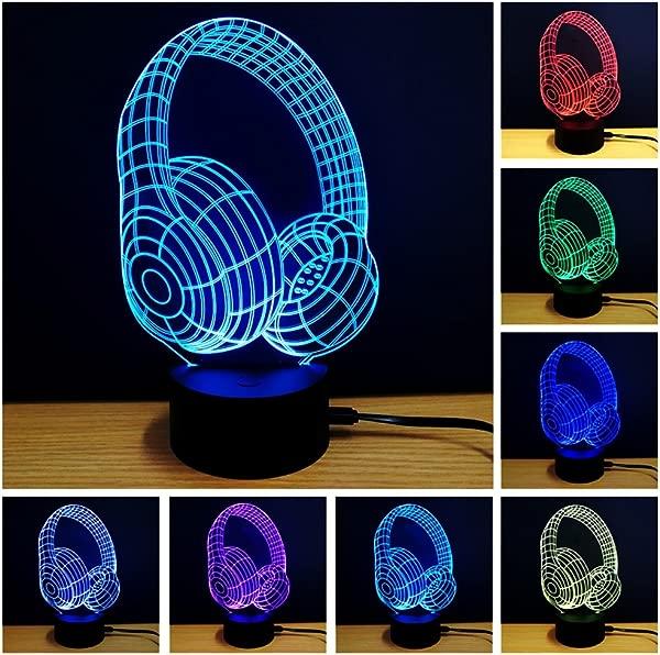 YANGHX 3D Night Light Headphone Shape Touch Table Desk Lamps 7 Color Changing Lights Color Multicolor