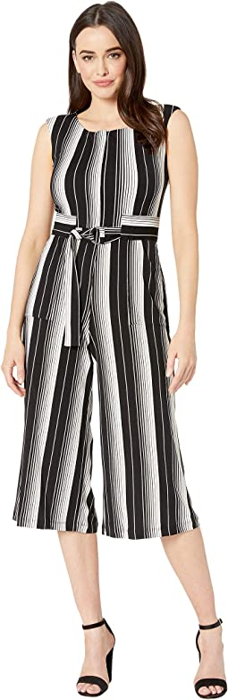 Vertical Striped Cropped D-Ring Jumpsuit