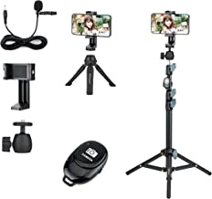 6 in 1 Smart Cell Phone Selfie Tripod Stand Kit with Extendable Tripod, Mini Tabletop Tripod, Flexible Phone Clamp Clip Ho...