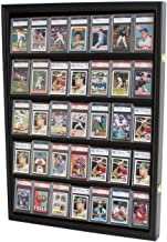Lockable 35 Graded Sports Card Display Case, for Football, Baseball, Basketball, Hockey Comic Collectible Cards (Vertical-...