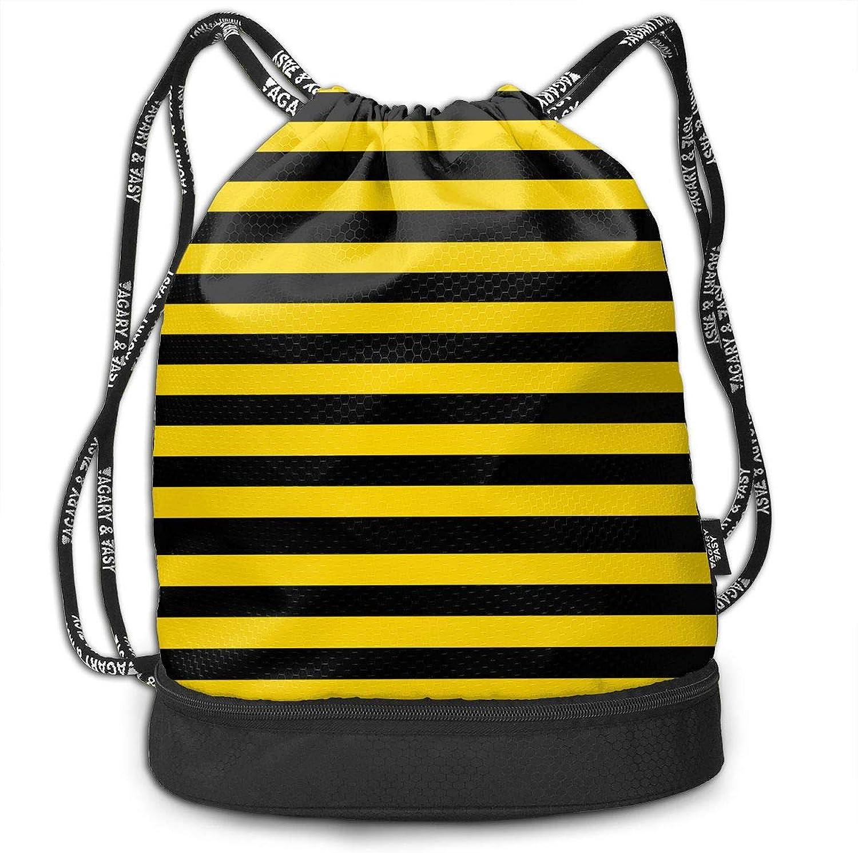 FEINIBUKE Gym Drawstring Sports Bag Simple Quick Dry Bundle Backpack Bumblebee Stripes