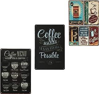 UNIQUELOVER Coffee Bar Signs, Premium, Menu & Possible Retro Vintage Metal Plaque Poster for Cafe Bar Pub Beer Club Home Wall Decor Art 12 x 8/30 x 20cm
