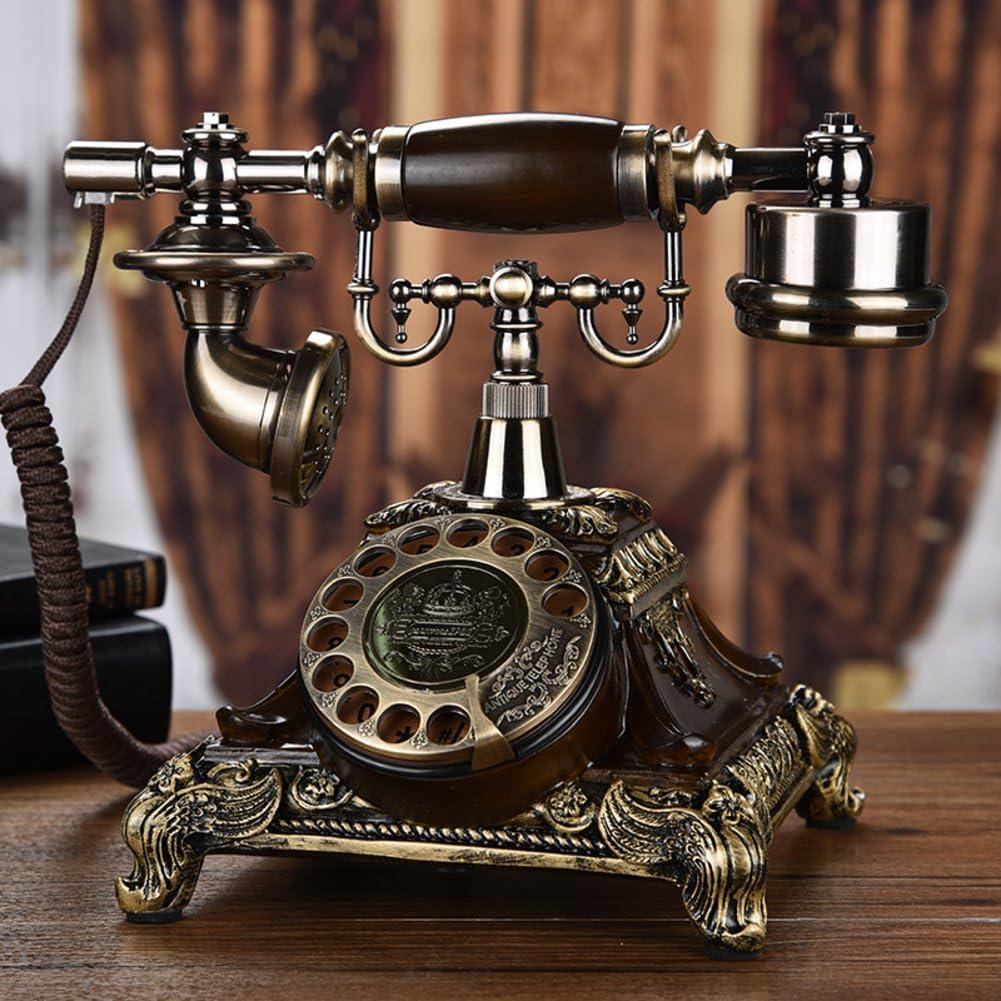 European Rotary Wireless Antique Telephone,Landline Home Retro Phone Fashion Creative Rotary Vintage Wireless Telephone for Home Decoration Storage Value-A 23x25cm(9x10inch)