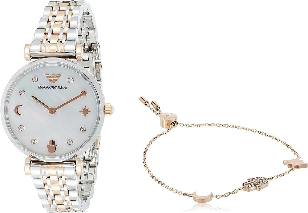 Emporio armani orologio da donna con bracciale in acciaio inossidabile AR80037