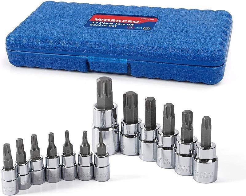WORKPRO 13 Piece Torx Bit Socket Set T8 T60 S2 Steel