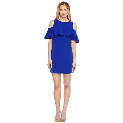 Tahari by ASL Off Shoulder Flounce Dress (Brilliant Blue) Women