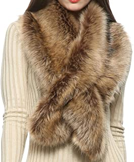 Winter Faux Fur Scarf Wrap Collar Shrug for Coat Wedding Evening 1920s Party