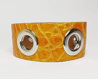 Bracciale donna mod Trip Hop con occhielli Bracciale in pelle e metallo con confezione regalo Design pulito con allacciatu...
