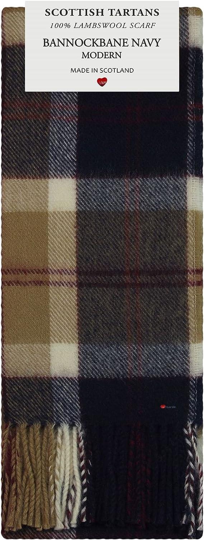 Bannockbane Navy Modern Tartan 100% Lambswool Scarf Made in Scotland