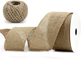 "Midi Ribbon 2-1/2"" Burlap Ribbon Fabric Craft Ribbon On Spool 10 Yards, Natural"