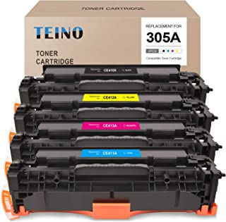 TEINO Compatible Toner Cartridge Replacement for HP 305A 305X CE410X CE410A use with LaserJet Pro 300 Color MFP M375nw Pro 400 Color MFP M475dw M451dn M475dn M451nw (Black Cyan Magenta Yellow, 4-Pack)