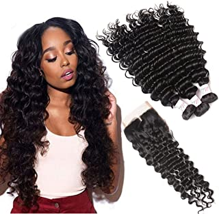 Brazilian Deep Wave Bundles with Closure (14 16 18+12inch) Mink 10A Virgin Human Hair 3 Bundles with 4x4 Top Lace Closure Natural Black Remy Hair Weave