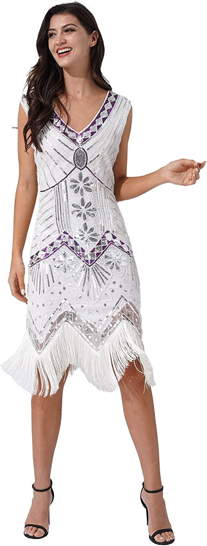 renvena Womens Sequins Flapper Dress Vintage 1920s V Neck Beaded Fringed Cocktail Party Dress