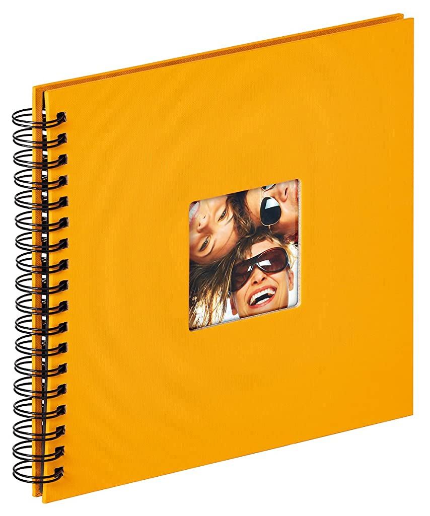 walther design Fun Wire-O Bound Album 40 Black Pages, Textured Paper, Maize Yellow, 26 x 25 x 3 cm
