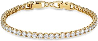 SWAROVSKI Women's Tennis Deluxe Bracelet, White, Gold-tone plated, Medium