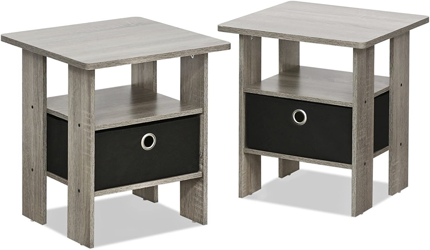 Furinno 2-11157GYW Petite Night Stand, 2 End Tables, French Oak Grey Black