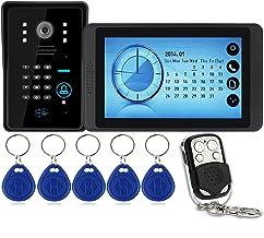 Wachtwoord Videodeurbel, Intercom, Bekabeld Videodeurtelefoonsysteem, 7 Inch Touchscreenmonitor + IR-Nachtzichtcamera + Af...