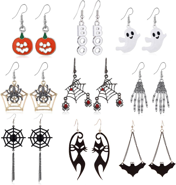 choice of all 10 Pairs Halloween Earrings for Women Halloween Drop Dangle Earrings Pumpkin/Ghost/Spider/Black Cat Stud Earrings for Girls Halloween Party Dress Dress Up