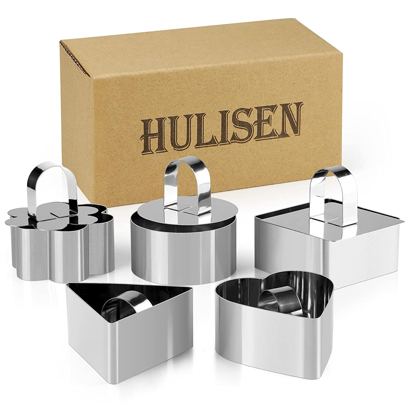 10 Pcs/Set Stainless Steel Cake Ring, HULISEN 3 x 3 inch Square Dessert Mousse Mold with Pusher & Lifter Cooking Rings