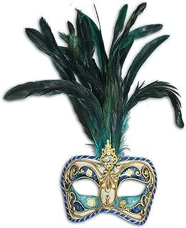 Venetian Eye Mask Colombina Cordone Piume for Women