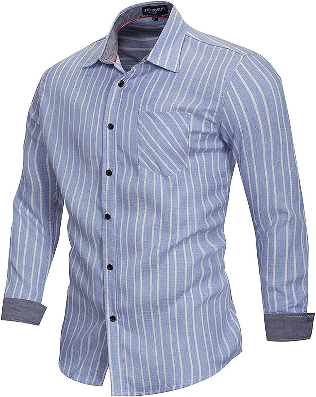 Zainafacai Men's Cotton Button Down Shirt Business Dress Shirt Casual Dress Shirts Long Sleeve Regular fit Shirt for Men