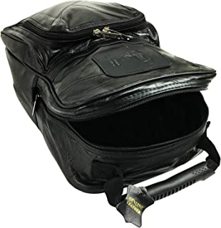 Lifestyle Banquet Genuine Leather Golf Shoe Bag for Men with Mesh Ventilation and Pockets, Black, 9 by 13 inches