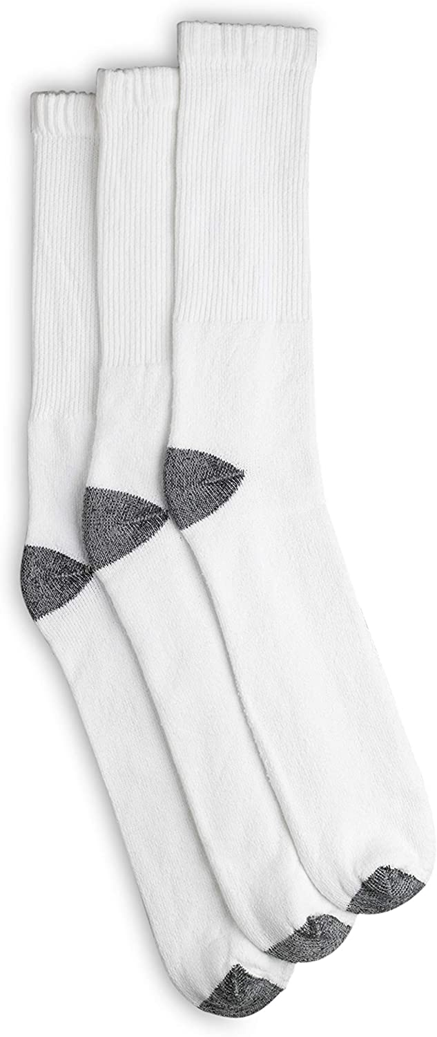 Harbor Bay by DXL Big and Tall Continuous Comfort Crew Socks, White, 13-16