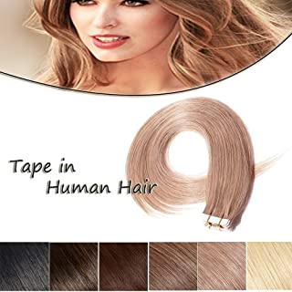 100% Remy Tape in Human Hair Extension 20'' Bonding Double Sided Tape Professional Long Thick Straight Seamless Skin Weft Hair 20Pcs/50g (Strawberry Blonde #27) + 10pcs Free Tapes
